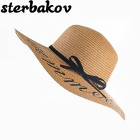 Summer Women Sun Hat Ladies Wide Brim Straw Hats Outdoor Foldable Beach Panama Hats Church Hat Bone Chapeu Feminino