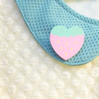 Pastel Strawberry Hand Painted Wooden Heart by SugarJunkieShop