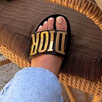 Dior hot sale ladies gold letter flat slippers and sandals