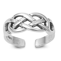 Sterling Silver Wicca Knot 7MM  Toe Ring/ Knuckle/ Mid-Finger