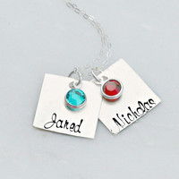 Hand Stamped Jewelry - Personalized Necklace - Sterling Silver Necklace - Square Necklace - Birthstone Necklace