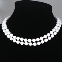 Vintage 1950s 1960s Style West Germany Signed White Milk Glass Faceted Glass Bead Necklace, 2 Strands Knotted Bead Wedding Jewelry