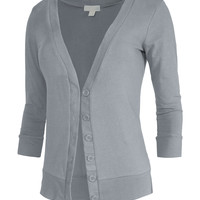 LE3NO Womens Lightweight 3/4 Sleeve Deep V Neck Knit Cardigan (CLEARANCE)