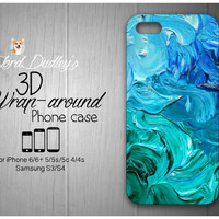 Blue Paint Swirls Phone Case for iPhone 5/5s/5c/ 4/4s and Samsung Galaxy S3/S4/S5