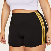 Plus Contrast Taped Side Cycling Shorts