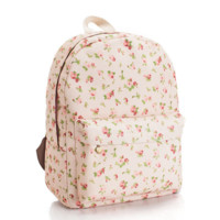 Sweet Floral Printed Canvas Lightweight College Backpack