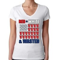Women's V Tee Shirt Red White And Wasted 4th of July Shirt Party Usa Clothing