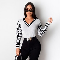 FENDI Fashion Long-sleeved V-necked thin knitted sweater