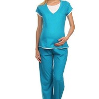 Teal Comfy Dotted 2-Piece Nursing Pajama Set