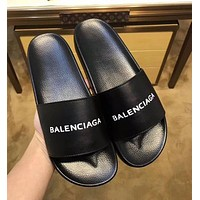 Balenciaga Trending Women Men Comfortable Simple Letter Print Sandal Slipper Shoes Black I-ALS-XZ