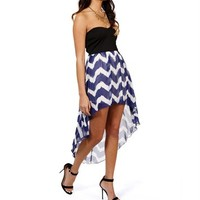 Strapless Chevron Print Hi-Low