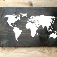 "Rustic Wood World Map Wall Art - 18""x11.5"" solid pine, wall hanging, rustic home decor, nursery art, stained wood, cabin decor, world map"