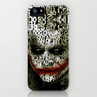 Insane Freak Clown Batman Joker Typograph art apple iPhone 3gs, 3g, 4, 4s and iphone 5 case