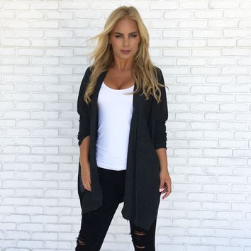 Inside Out Cardigan in Charcoal Grey