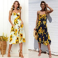 Sleeveless sunflower design & pineapple sundress button front