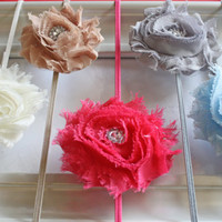 Baby Girl Shabby Chic Flower Jewel Headband Set - 5 Pack Headband Lot - 28 Colors to Choose From - Headbands for Newborns, Toddlers, Girls