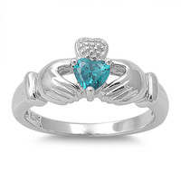 925 Sterling Silver CZ Claddagh Blessing Simulated Blue Topaz Ring 12MM