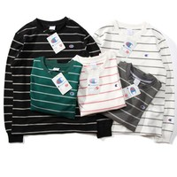 Champion embroidery The couple sweater casual stripe round collar long sleeve sweatshirt