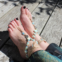 Sky blue, pearl, mint green seashells beads barefoot sandal, Bare foot jewelry, Beach wedding, Boho anklet, bohochic twine natural shoes eco