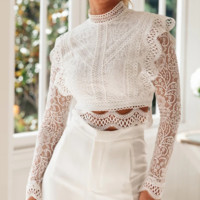 New hollowed-out lace long-sleeved zip-up top