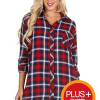 Red and Navy Plaid Tunic Top Plus Size (XL to 3XL)