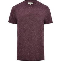 River Island MensDark red neppy crew neck t-shirt