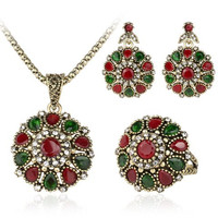 Red and Green Faux Gemstone Round Jewelry Set