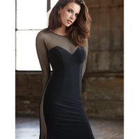 Black Netted Long Sleeved Gown With Side Slit