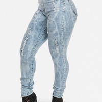 High Waisted Distressed Skinny Jeans in Bleach Wash