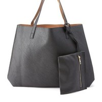 Cognac Combo Contrast-Lined Tote & Wristlet by Charlotte Russe