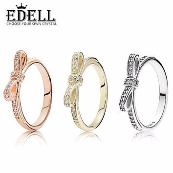EDELL Luxurious 100% 925 Sterling Silver Bow tie Exquisite love ring Wedding For Luxury Women Charm beads pendant Gift Jewelry