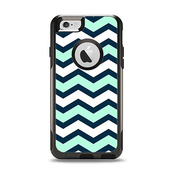 The Teal & Blue Wide Chevron Pattern Apple iPhone 6 Otterbox Commuter Case Skin Set