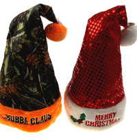 Santa Hats Adult Merry Christmas Mrs Bubba Claus Lot 2 Camo Sequin Holiday Party