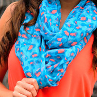 Summertime Fine Scarf: Blue/Coral | Hope's