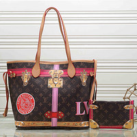LV Louis Vuitton classic color matching pattern printing two-piece shopping bag shoulder bag messenger bag