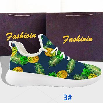 Flying woven running shoes breathable pattern printing men and women couple sneakers  green pineapple