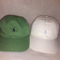 Vintage 90s White Polo Ralph Lauren Leather Strapback hat Blue Horse cap  Preppy Dope polo sport tommy nautica