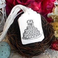 Wedding Cake Gift or Hang Tags Set Bride Groom Topper Black and White Set of Ten