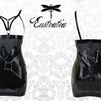 latex high waisted harness skirt with o-rings and latexlace
