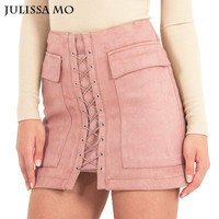Autumn Winter Suede Leather Skirts Womens 2017 Vintage Pocket Preppy High Waist Lace Up Casual Mini Pencil Skirts u.s. size