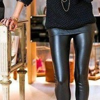 Matte Faux Leather Legging