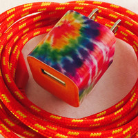 Tie dye and red iphone charger duo, usb wall adapter and 6 foot charger cord, compatible with iphone 5s, 5c, 6 & 6 Plus, red charger cord