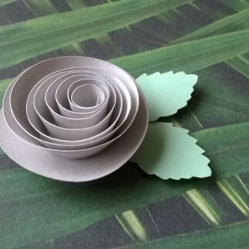 grey rose boutonniere groomsman pin back groom rolled paper flower lapel brooch bridal party bridal shower wedding reception family favors