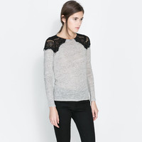 T - SHIRT WITH LACE DETAIL - T - shirts - WOMAN | ZARA United States