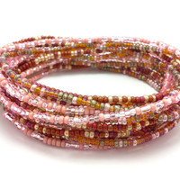 3 Stretch seed bead wrap bracelets, stacking, beaded, boho anklet, bohemian, stretchy stackable, multi strand, pink, maroon, amber gold
