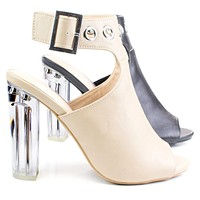 Morris64 By Wild Diva, High Perspex Block Heel Bootie w Peep Toe & Large Ankle Buckle