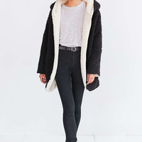 Ecote Teddy Cosy Reversible Black and White Hooded Jacket - Urban Outfitters