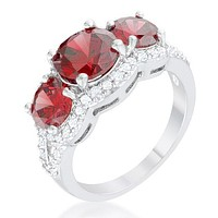 Meirion Garnet Red Round Cut Three Stone Cocktail Ring  | 7ct