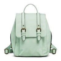 Women's Solid Backpack with Adjustable Straps - Mint