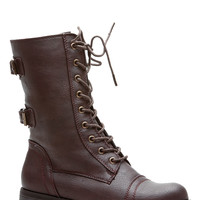 Brown Cadet Kelly Faux Leather Textured Lace Up Combat Boots